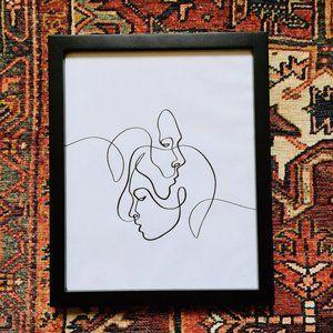Minimalist Black & White Line Drawing Framed Print